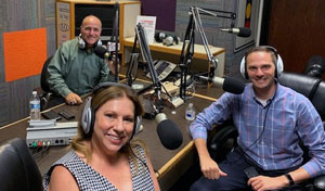 KFMB recording studio with Peggy Pico, Joe Vecchio and Dr. John Bellettiere