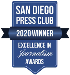 San Diego Press Club Award logo for 2019